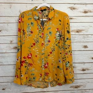 NWT Max Jeans Floral Career Roll Sleeve Blouse